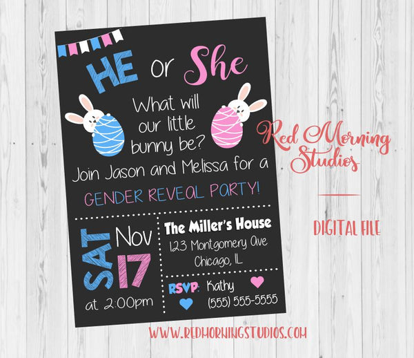 Easter Gender Reveal Party Invitation. PRINTABLE baby shower invite. bunny egg. easter gender reveal party invite. digital