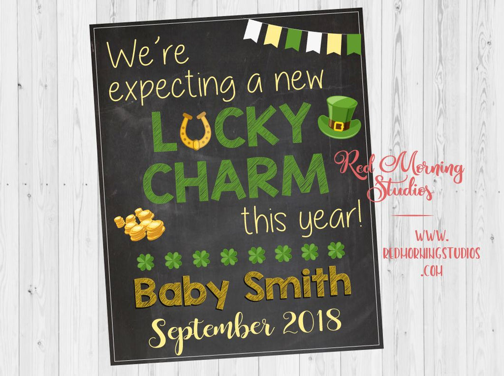 St Patrick's Day Pregnancy Announcement sign. PRINTABLE New Baby Reveal poster. Lucky Charm. DIGITAL maternity photo prop. irish leprechaun