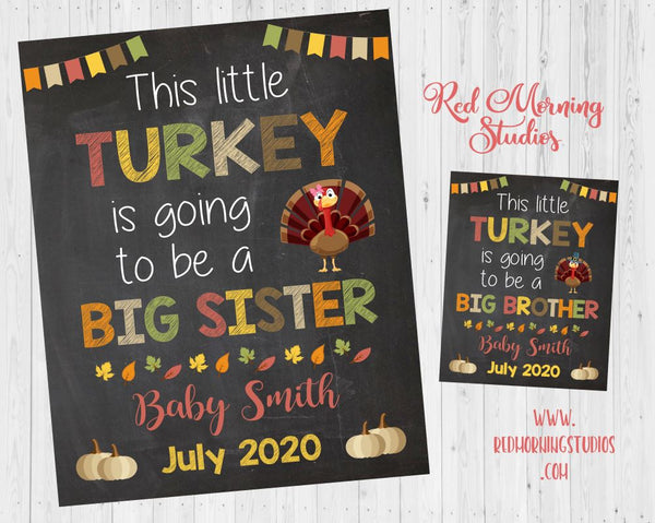 Thanksgiving Big Brother Pregnancy Announcement Sign