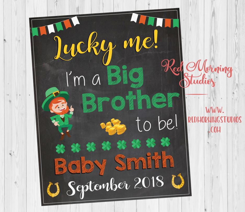 St Patrick's Day Big Brother Pregnancy Announcement. Sibling New Baby sign. oldest child second. St. Patrick's Day pregnancy reveal. sibling