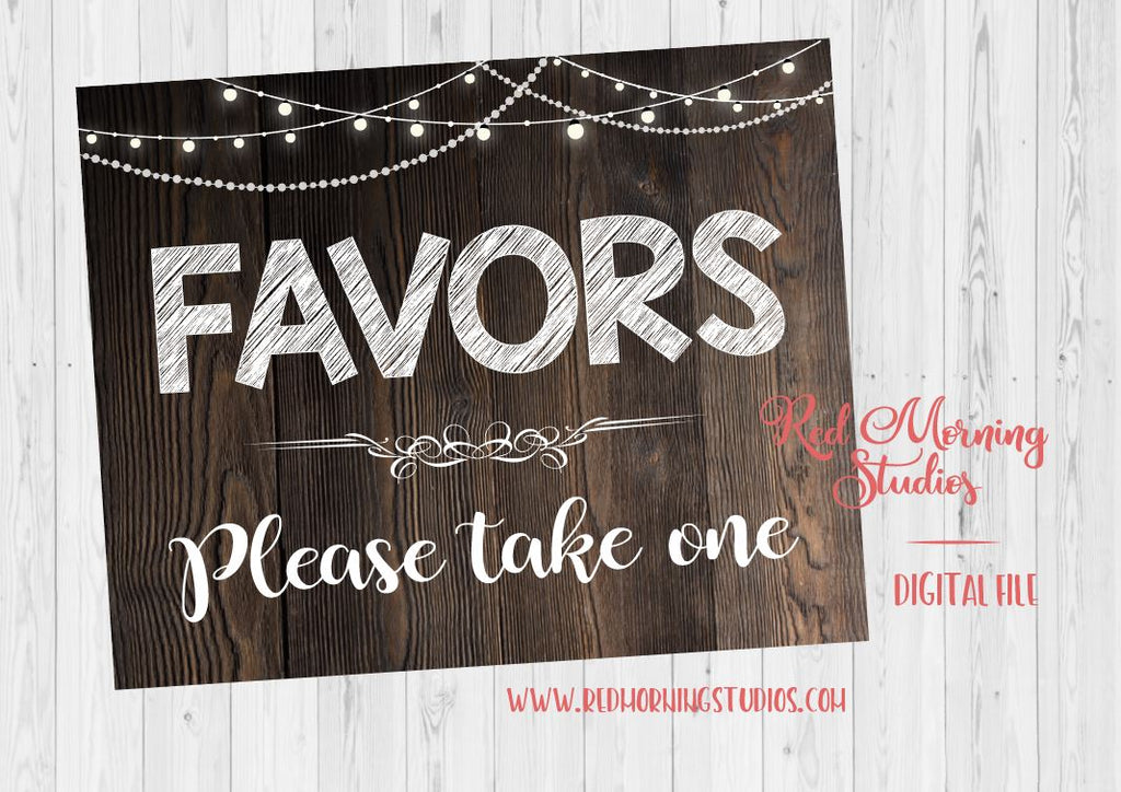 Rustic Wedding Favors sign. PRINTABLE digital instant download. favors please take one. digital favors. printable favors. wooden favors
