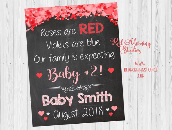 Valentines Day Baby #2 Pregnancy Reveal sign. Sibling New Baby sign. Second Child valentine's day pregnancy announcement. 2nd child. sibling