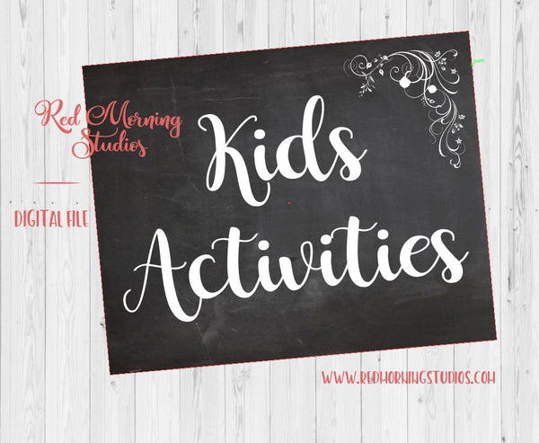 Kids' Activities sign. PRINTABLE. Children's table wedding sign. Kids table wedding. instant download. kids favors. chalkboard