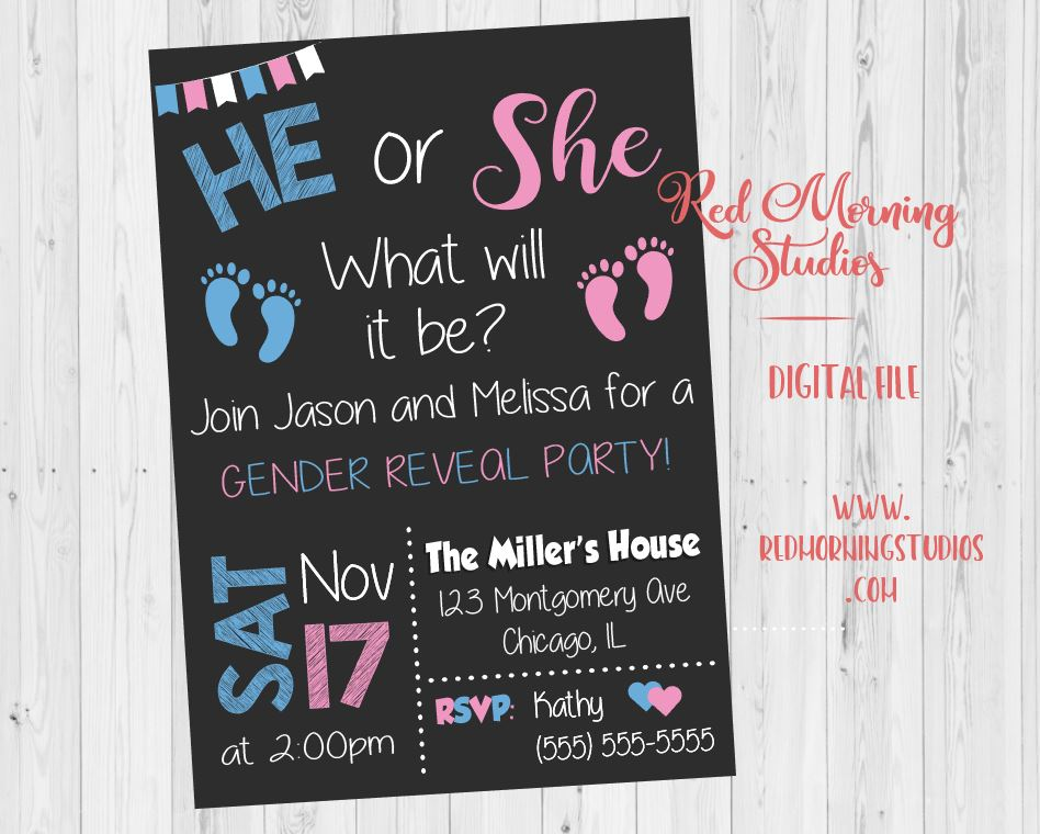 He or She Gender Reveal Party Invitation. PRINTABLE He or She what will it be. baby shower invitation. boy or girl. blue or pink footprints