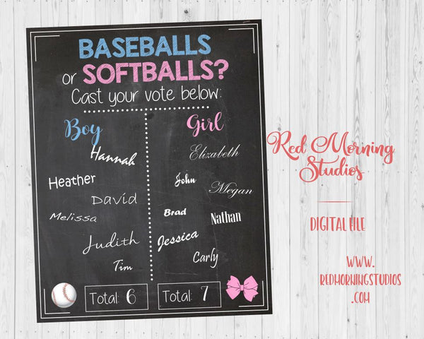 Baseballs or Softballs Gender Reveal Guess sign - PRINTABLE