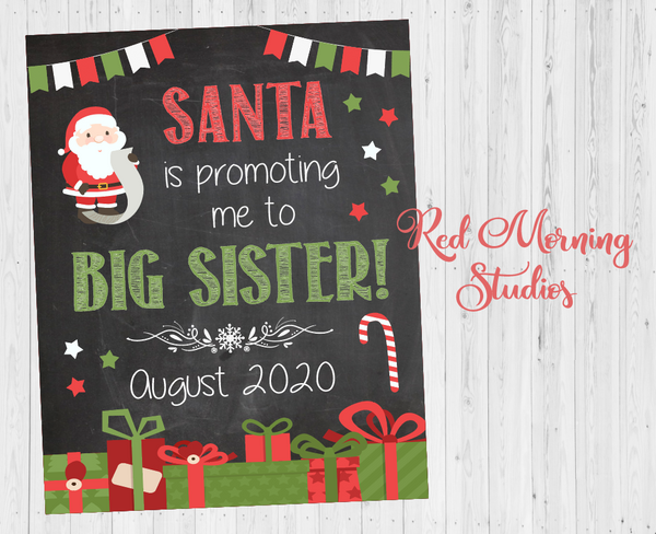 Christmas Big Sister Pregnancy Announcement Sign. Santa is Promoting me to Big Brother. Christmas Pregnancy Reveal sign. New Baby Sign