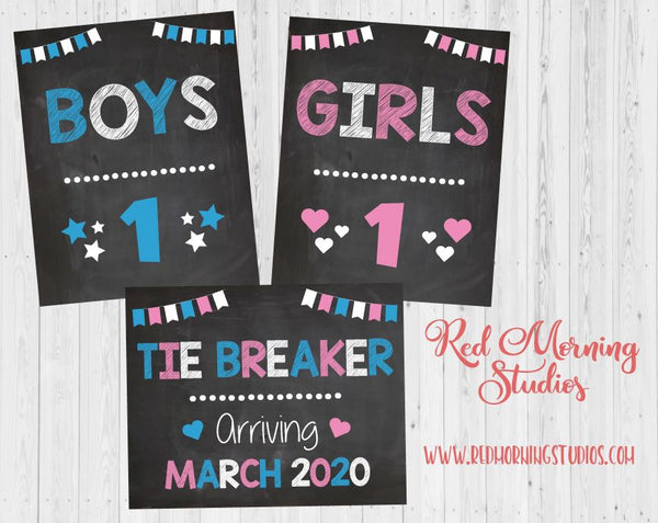 Tie Breaker Pregnancy Announcement Sign. Third Baby Announcement Sign. Baby #3 boys girls. Tiebreaker Pregnancy reveal signs.