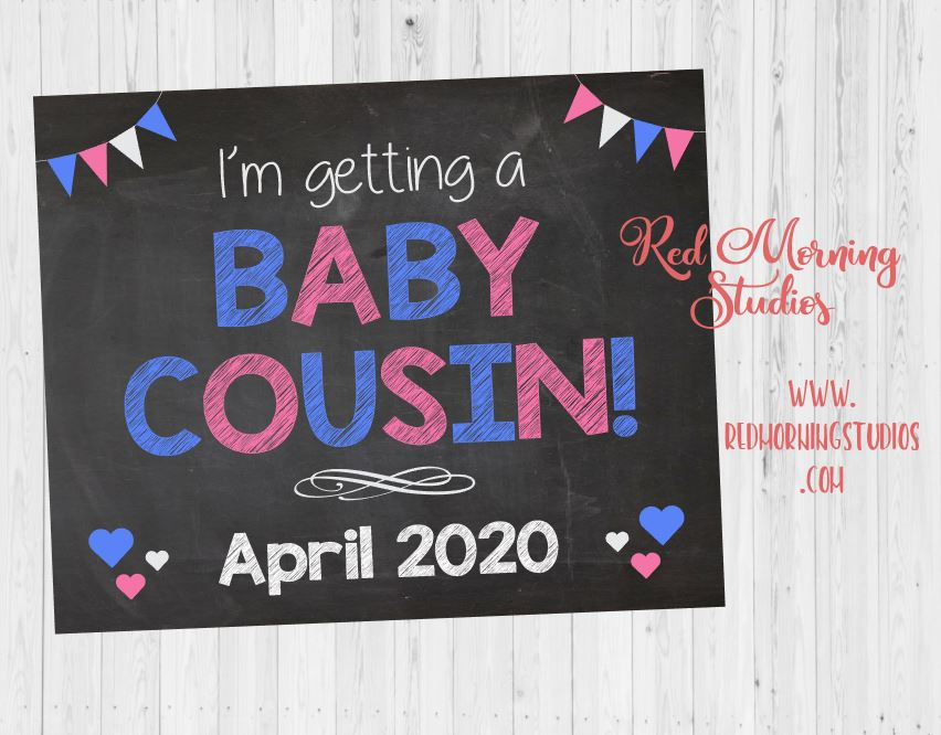 Big Cousin Pregnancy Announcement sign. I'm going to be a big cousin. Cousin New Baby pregnancy Reveal sign.  photo prop. aunt. uncle.