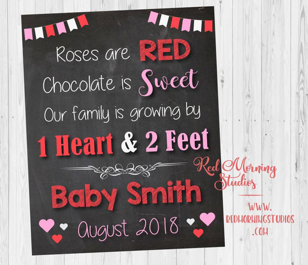 Valentine's Day Pregnancy Announcement sign. New Baby announcement. valentine's day pregnancy reveal poster. roses are red family growing