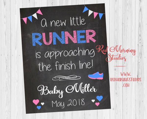 Runner Pregnancy Reveal Sign. running pregnancy announcement poster. jogger. social media. new baby. marathon race run. maternity photo prop