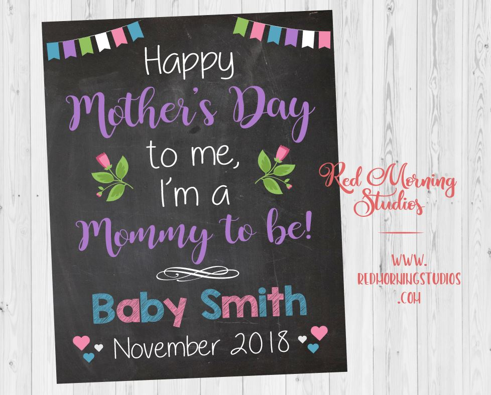 Mother's Day Pregnancy Reveal sign. 1st Mother's Day pregnancy announcement poster. mommy to be social media graphic. new baby announcement.