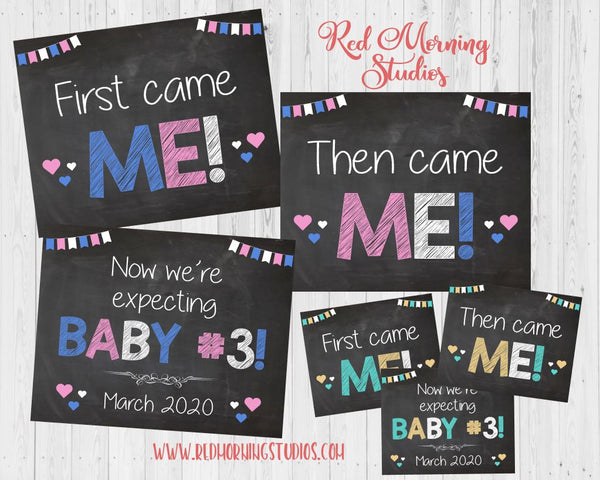 Third Baby Pregnancy Reveal. 3rd Baby Pregnancy Announcement signs. Baby #3 photo prop. First came me then me. Expecting third child pink