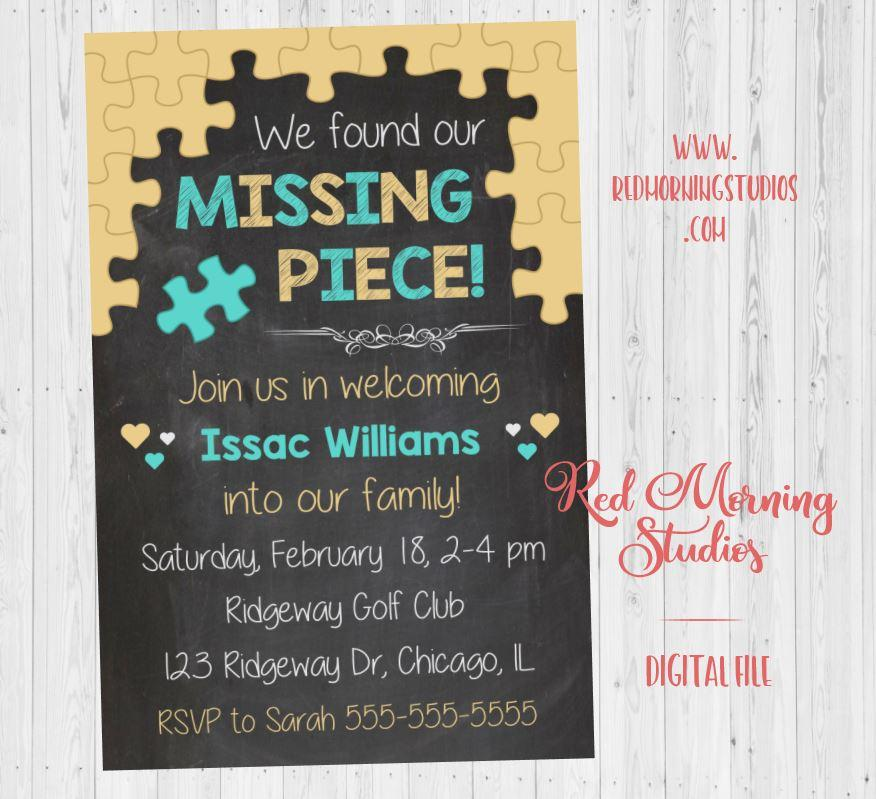 Adoption Invitation. PRINTABLE. Missing Piece adoption party invitation. announcement invite. DIGITAL adopt shower. welcome to the family.