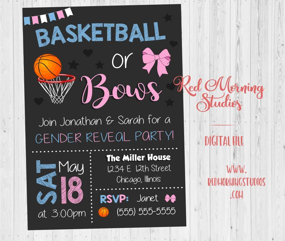 Basketball or Bows Invitation. Basketball or Bows Gender Reveal Invitation. PRINTABLE. Basketball or Bows baby shower. invite digital