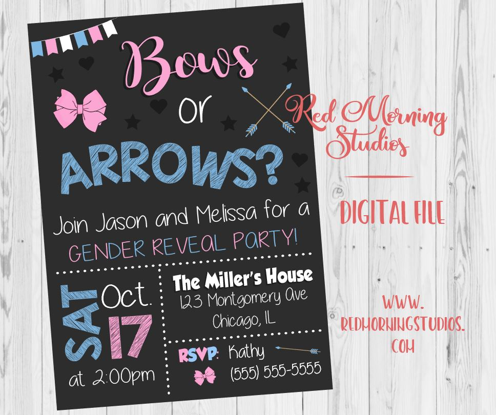 Bows or Arrows Gender Reveal Invitation. PRINTABLE. arrows or bows baby shower party invite. digital boy or girl invitation. boho tribal