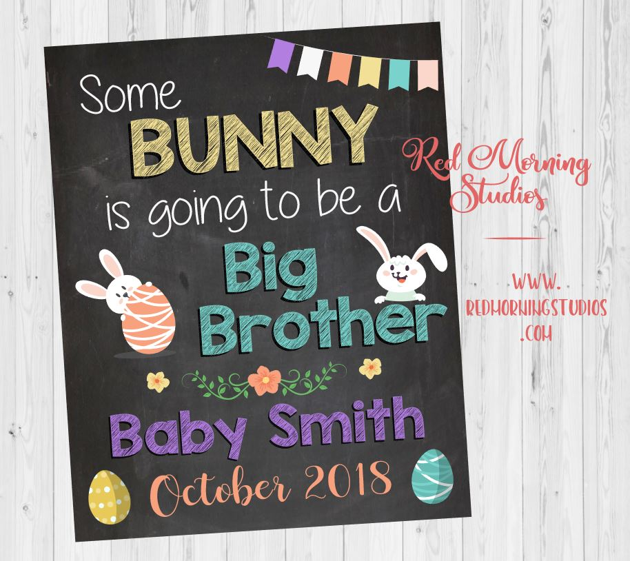 Easter Big Brother Pregnancy Announcement. Easter Day Sibling New Baby sign. oldest child second. Easter pregnancy reveal. some bunny