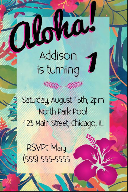 Aloha Birthday Invitation Tropical Luau Hawaiian
