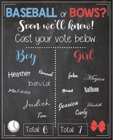 blue red Baseball or Bows Gender Reveal Guess sign baby shower chalkboard PRINTABLE poster boy or girl