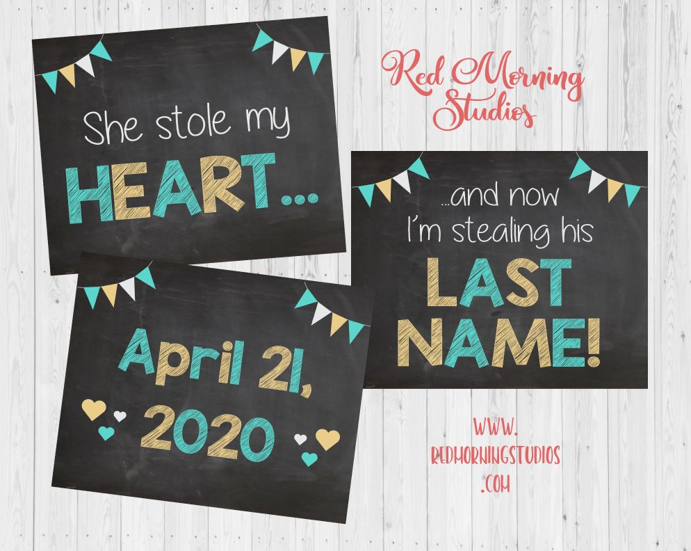 Engagement Announcement Signs. Engagement Photos prop. Save the Date Wedding Announcement. Stole my heart stealing last name