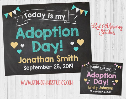 Adoption Announcement sign. Adoption Day poster photo prop. custom personalized chalkboard Adopt
