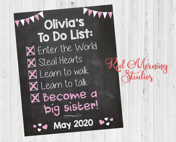 Big Sister Announcement Sign. Big Sister To Do List. Checklist Pregnancy Announcement reveal poster.