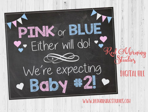 Second Child Pregnancy Announcement Sign. INSTANT PRINTABLE. new baby #2 pregnancy reveal sign. 2nd child. Pink or blue expecting Two