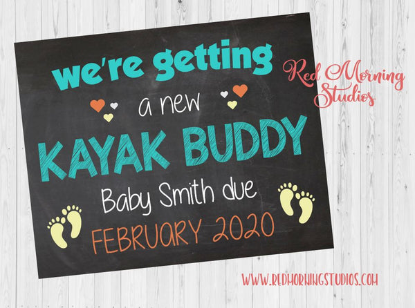 Kayak Pregnancy Announcement sign. Kayaking Pregnancy Reveal poster. New Baby Chalkboard. canoe. photo prop. boating. rafting. paddling