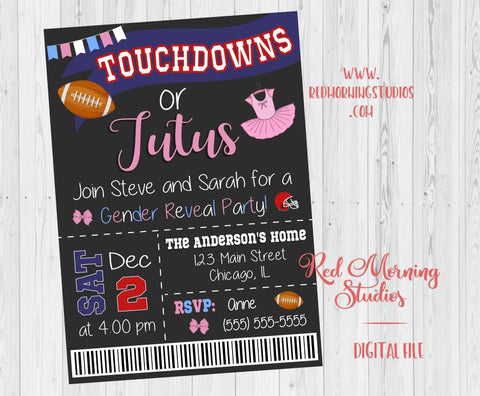 Touchdowns or Tutus Gender Reveal Party Invitation. PRINTABLE. ticket. football ballet baby shower invite digital boy or girl