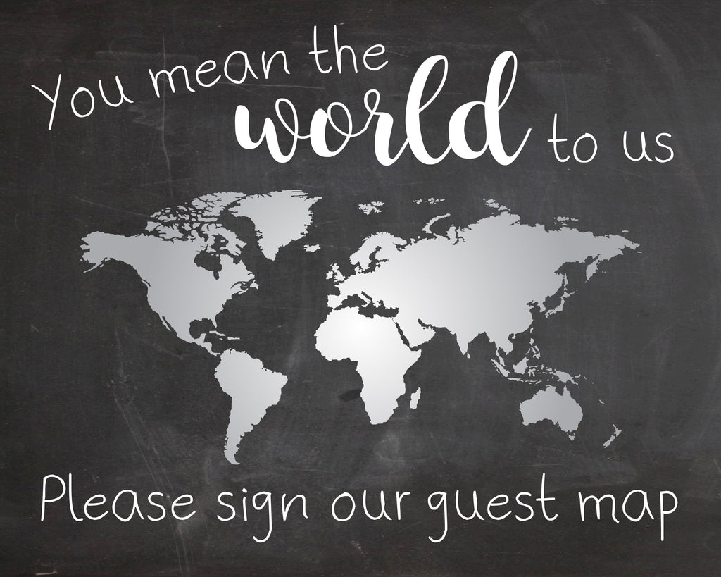 World map guest book wedding sign printable red morning studios world map guest book wedding sign globe printable instant download chalkboard you mean the world to gumiabroncs Image collections