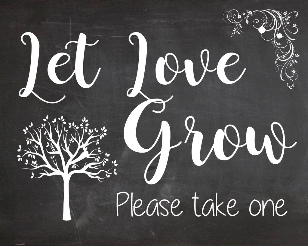 Let Love Grow. chalkboard Wedding Favors sign. PRINTABLE seeds succulents plants  digital instant download. Succulent wedding favors