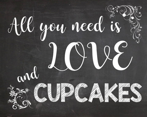Cupcake Table sign PRINTABLE wedding chalkboard digital instant download all you need is love and cupcakes