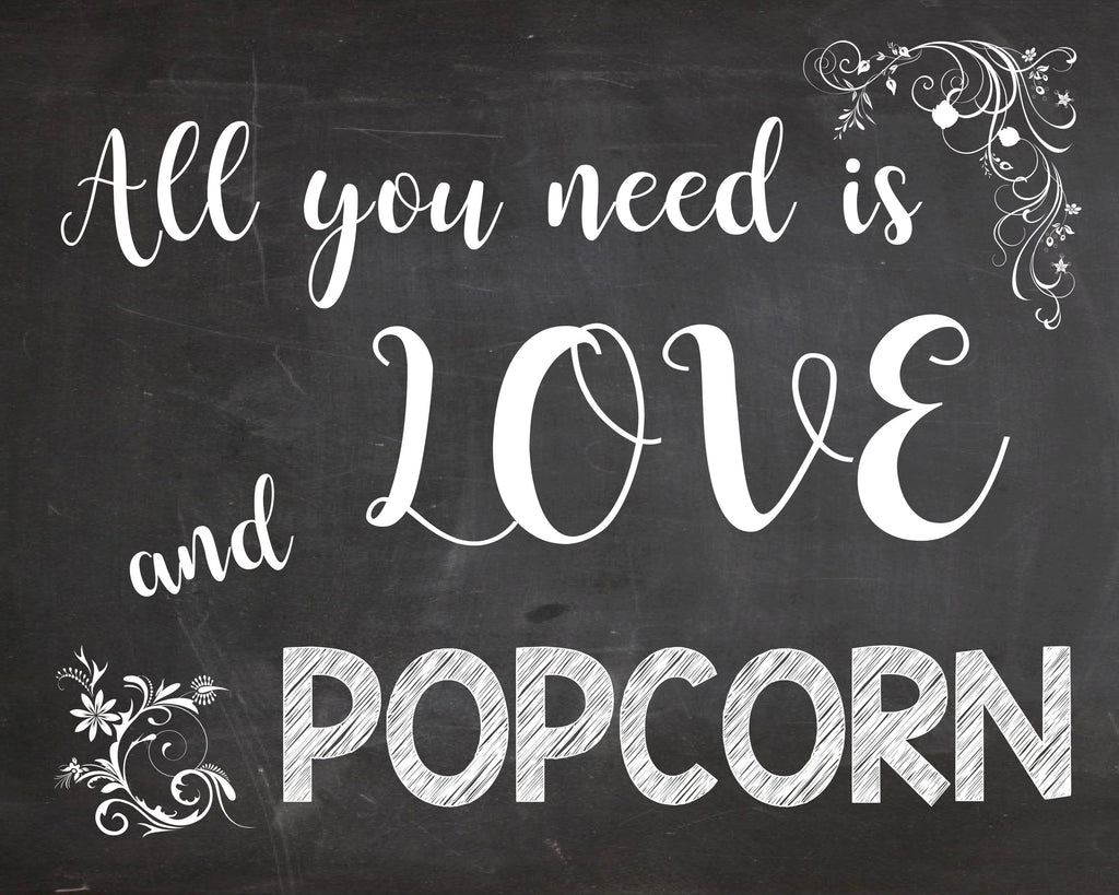 photo about Popcorn Sign Printable named All On your own Will need is Enjoy and Popcorn indication - Popcorn Desk marriage ceremony indicator - PRINTABLE