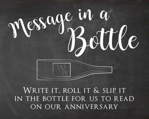 Message in a Bottle Wedding Guest Book sign PRINTABLE instant download chalkboard anniversary