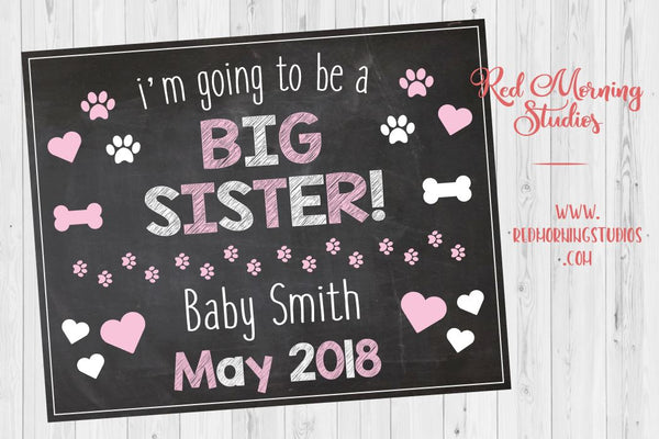 Dog Big Sister Pregnancy Announcement Sign from pet