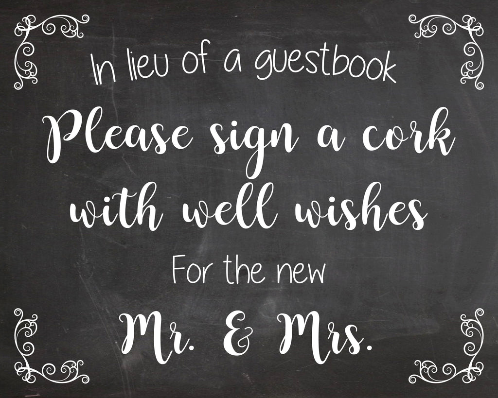 Sign a Cork sign wedding guest book PRINTABLE instant download chalkboard alternative guestbook wine cork