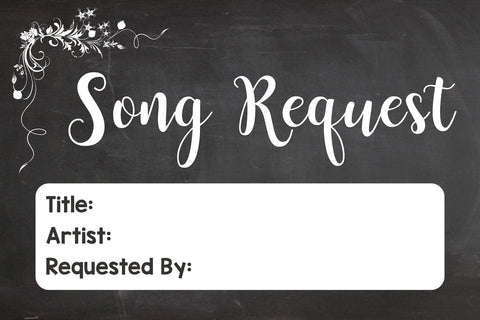 Song Request Card. chalkboard wedding song request cards. PRINTABLE  digital instant download song requests signs