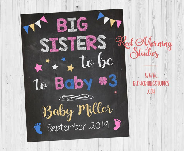 Big Sisters Pregnancy Reveal sign. Big Sisters to be to Baby #3 Announcement sign. Third child announcement sign. Two girls, older sisters