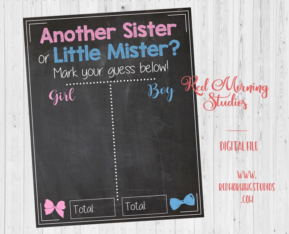 Another Sister or Little Mister Gender Reveal Guess sign. PRINTABLE. 2nd child. second baby sibling. baby shower poster boy or girl