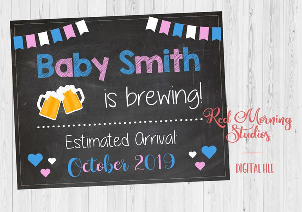 Beer Pregnancy Announcement sign. beer brewing pregnancy reveal poster. beer making new baby chalkboard photo prop digital instant download