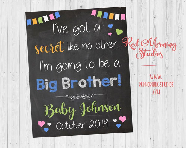 Big Brother Pregnancy Reveal Sign. I've got a secret like no other, I'm gong to be a Big Brother. Pregnancy Announcement Poster.