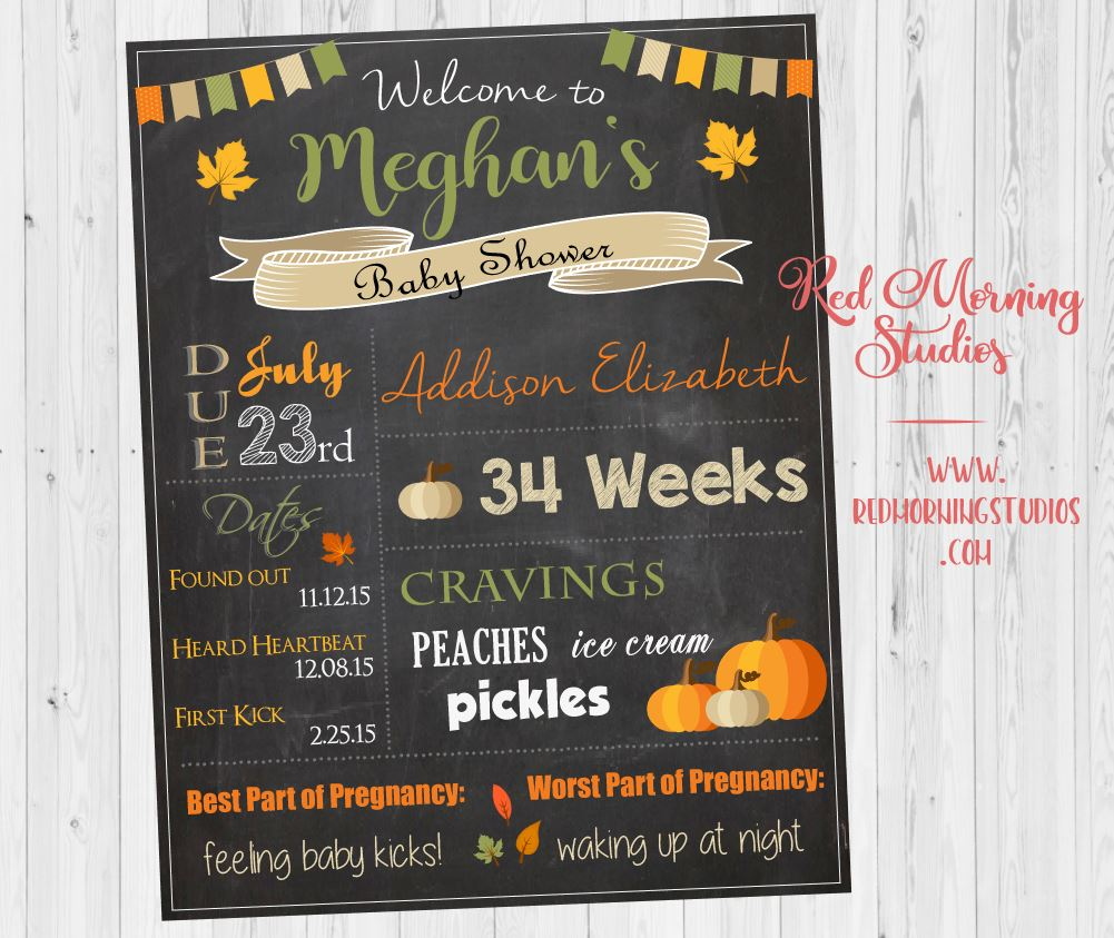 Fall Baby Shower Welcome Sign. Autumn Baby Shower Decorations. PRINTABLE. fall baby shower welcome sign. autumn leaves. pumpkin poster