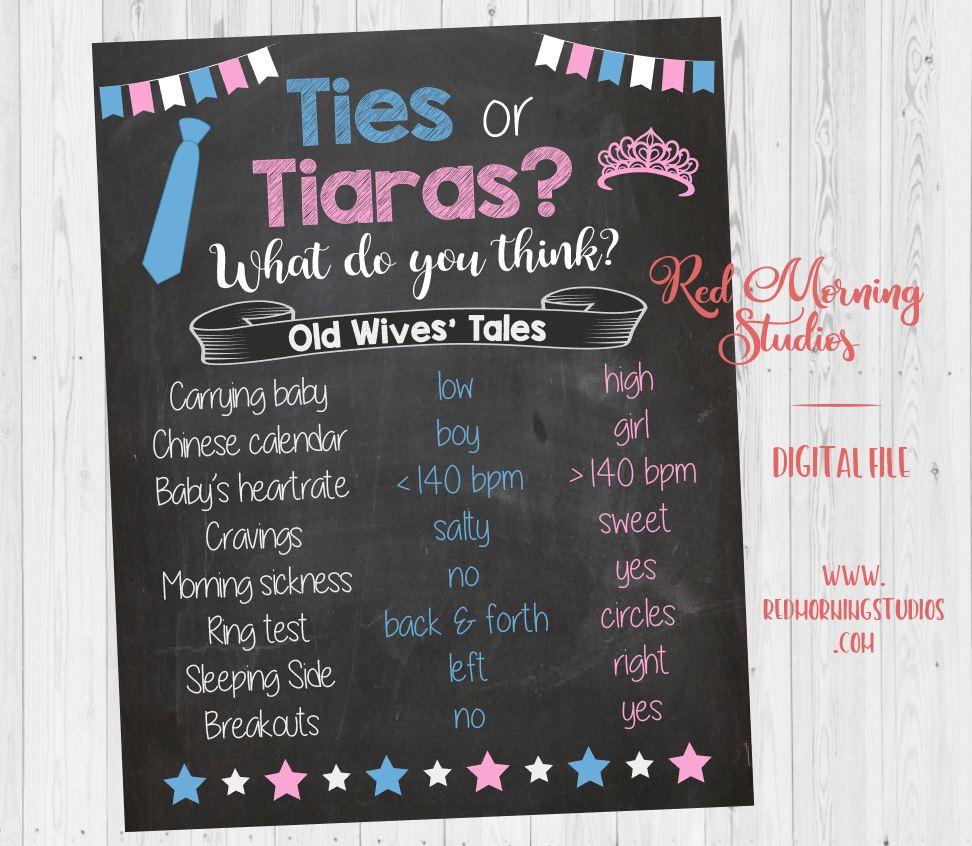 Ties or Tiaras Old Wives' Tales sign. PRINTABLE Gender Reveal Guess. baby shower chalkboard poster boy or girl. Gender Reveal Party Game