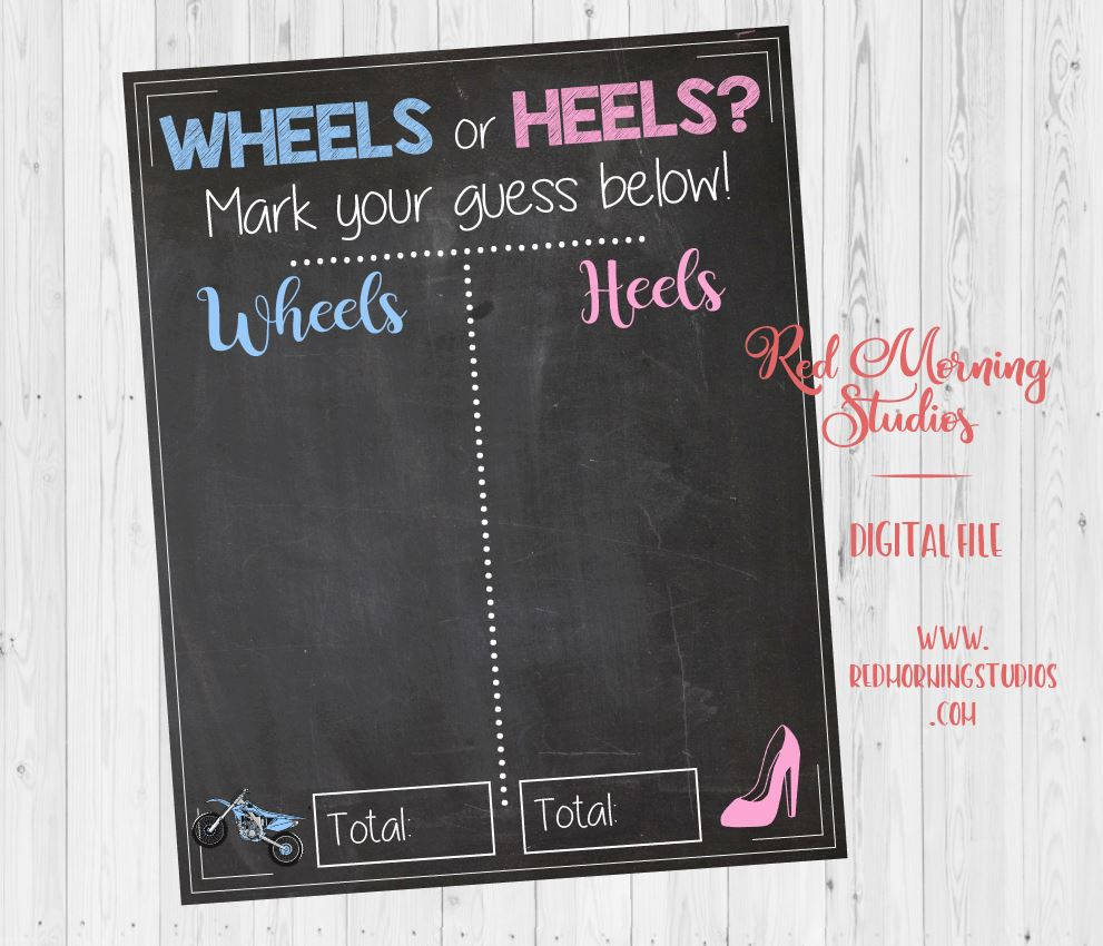 Dirt Bike Wheels or Heels Gender Reveal Guess sign. PRINTABLE. motocross baby shower chalkboard poster boy or girl