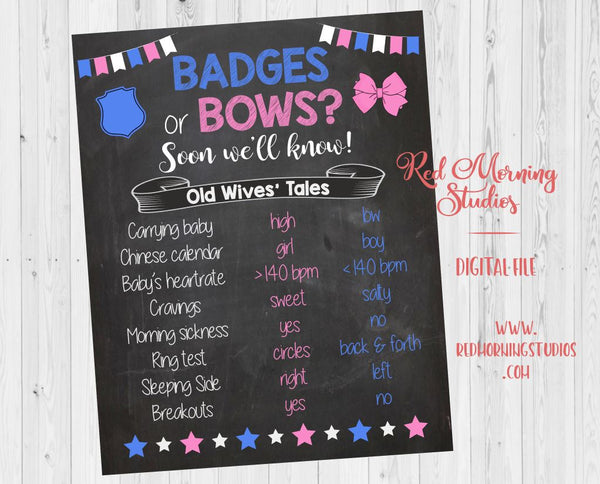 Badges or Bows Old Wives' Tales sign. PRINTABLE. Police Officer Gender Reveal Guess sign. badges or bows gender reveal party game