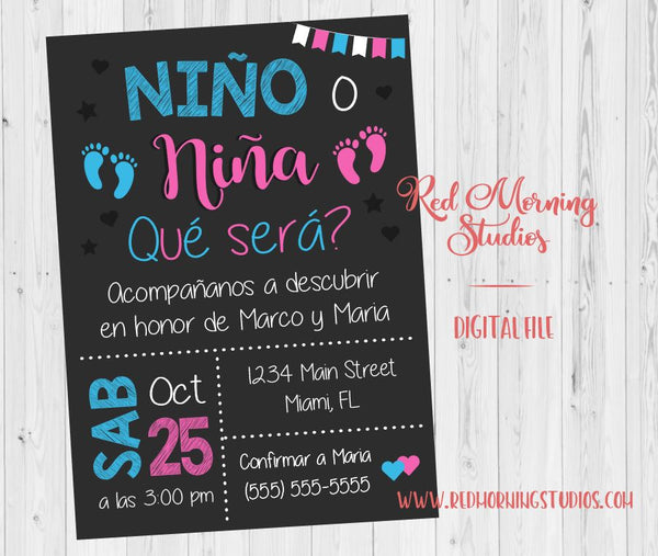 Spanish Gender Reveal Invitation. PRINTABLE. Nino o Nina invitacion. Baby Shower Invitation en espanol