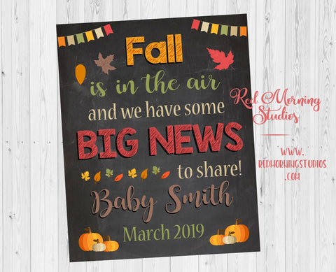 Fall Pregnancy Reveal Sign. Autumn pregnancy announcement sign. new baby chalkboard poster pumpkin. fall is in the air big news to share