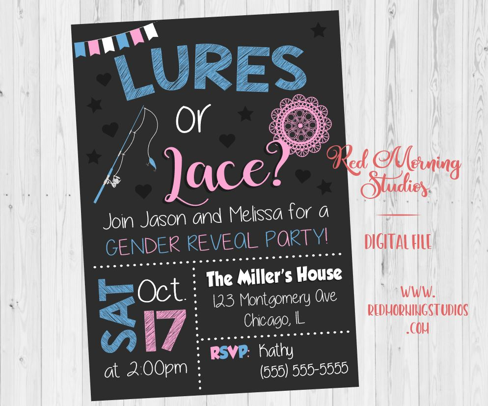 Lures or Lace Gender Reveal Invitation. Lures or Lace invitation. gender reveal theme. fishing. baby shower invite digital boy or girl