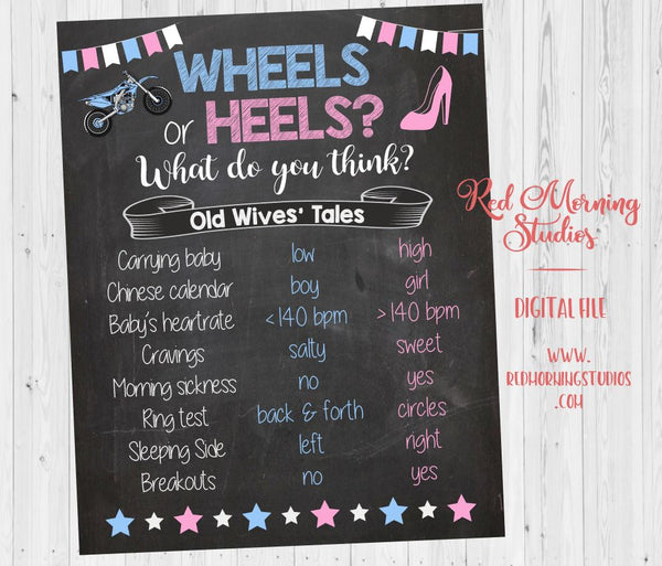 Dirt Bike Wheels or Heels Old Wives' Tales sign. PRINTABLE. Motocross Gender Reveal Guess baby shower chalkboard poster boy or girl