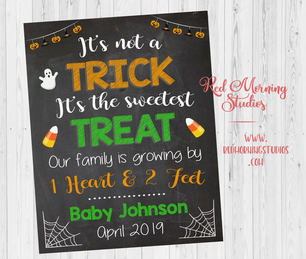 Halloween Pregnancy Reveal Sign. Halloween Pregnancy announcement poster. New baby announcement. Trick or Treat. sweetest treat 2 feet