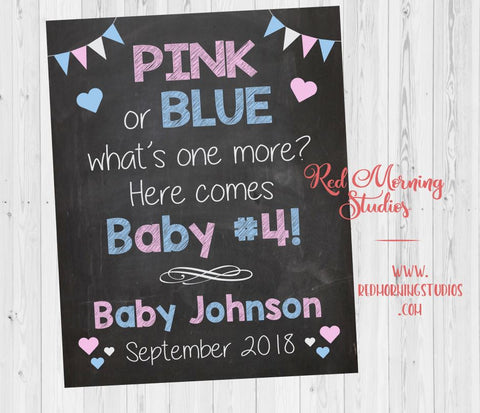 Baby #4 Pregnancy Announcement Sign. Pink or Blue what's one more. 4th Baby pregnancy reveal poster. custom social media announcement